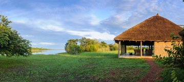 The Safari Lodge sits right on the Kafue river. Kafue National Park visible on the other side of the river
